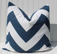 Navy Chevron Pillow Cover Throw Pillow by MariaClaireInteriors