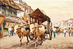 View Ox cart in a street by Willem van der Does on artnet. Browse upcoming and past auction lots by Willem van der Does. Canvas Painting Landscape, Landscape Art, Painting Art, Paintings, Indonesian Art, Drawing Sketches, Drawings, Cool Landscapes, Indian Art