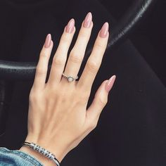 Rose round acrylic nails More