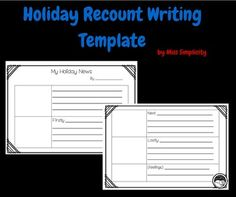Grade 1 and 2 holiday recount writing template FREEBIE