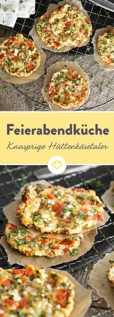 Im Ofen zu goldbraunen Talern gebacken und mit dreierlei Kräutern, Tomaten und Schalotte verfeinert, siehst du körnigen Frischkäse nun mit anderen Augen.