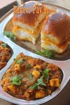 Paneer Pav Bhaji Recipe - Mumbai Street Food Recipe - waff life photos and shared Indian Potato Recipes, Easy Indian Recipes, Mumbai Street Food, Indian Street Food, Mumbai City, Cooking Recipes, Healthy Recipes, Drink Recipes, Kabob Recipes