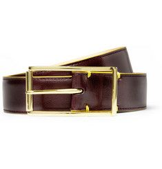 Deco Contrast-Edge Leather Belt