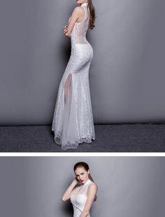 524b046ced Buy Posh Bride Embellished Sleeveless Mandarin Collar Mermaid Lace Evening  Gown