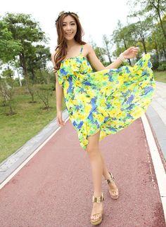 Cheap Wholesale Bohemian Style Spaghetti Strap Sleeveless Flower Print Dress For Women
