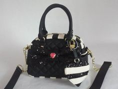 Betsey Johnson Quilted MINI SATCHEL BM19425 BLACK SEQUIN BOW, STRIPE HEART Charm #BetseyJohnson #MessengerCrossBodyMiniSmallSatchel