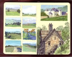 Walking the Cotswolds. Travel, journal, sketchbook, notebook, dairy, words and images, drawing.