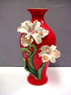 IRIS VASE PURE BEAUTY FLOWER FRANZ PORCELAIN #2943