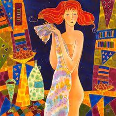 Original art for sale at UGallery.com | Cherry Vine by YELENA SIDOROVA | $1,450 | Mixed media artwork | 24' h x 24' w | ..artmixed-media-artwork-Cherry-Vine