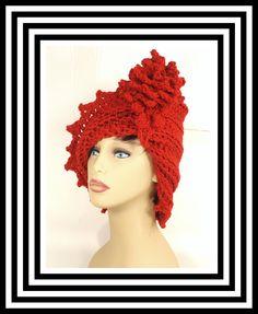 Red Crochet Hat Womens Hat Crochet Cloche Hat with Flower Crochet Flower Red Hat Crochet Winter Hat LAUREN Cloche Hat Crochet Hat 45.00 USD by #strawberrycouture on #Etsy