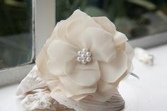 Eleanor  Silk Flower Head Band with Faux Pearls by hooeydesigns, $50.00