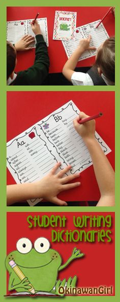 Student writing dictionary printable. The first template is blank, whilst the second contains all of the Dolch sight words.