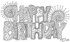 Happy Birthday, Black and White Graphic Word Art Print, Reproduced from Original Pencil Drawing