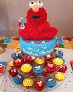My little boys Elmo cake for his 1st birthday.