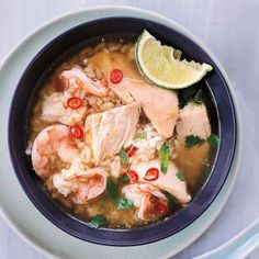 Chicken + Rice Soup w Shrimp // More Chicken Soup Recipes: http://www.foodandwine.com/slideshows/chicken-soup #foodandwine