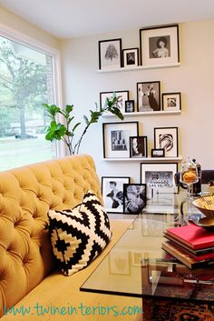 gallery ledge, fiddle leaf fig tree, mid-century modern home, eclectic modern dining room, abstract art, banquette dining, glass dining table