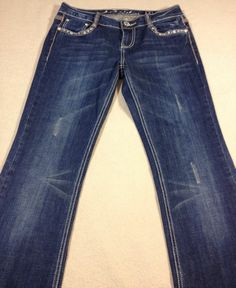 L.A. Idol USA Jeans Womens Size 30x34 Tag 7 Heavy Bling Crystals Studs
