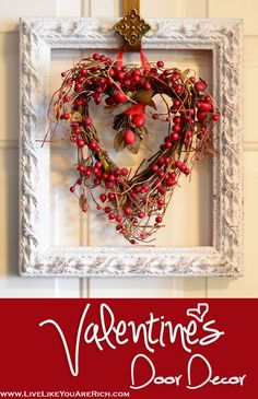 Valentine's Door Decor. Inexpensive and super easy to make!