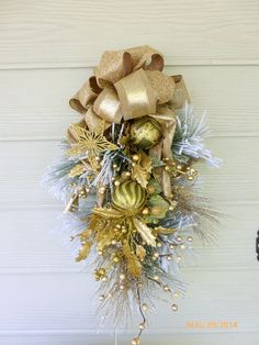 Elegant Christmas Door Swag  Green and by JulieButlerCreations