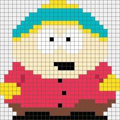 Four South Park Hama, Perler and Cross Stitch Designs. Beaded Cross Stitch, Crochet Cross, Cross Stitch Embroidery, Perler Patterns, Cross Stitch Patterns, Bead Patterns, Animation, Hama Beads, Seed Bead Crafts