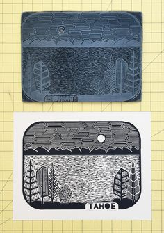 "Lake Tahoe Linocut Print by Boarding All Rows. A 11""x14"" poster of Tahoe made from a hand-carved lino block."