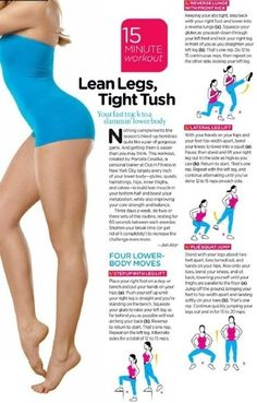 Lower body workout for leaner legs and a tighter tush. #exercise #workout #legs #glutes