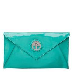 Mimco Molten Envelope clutch in Jade