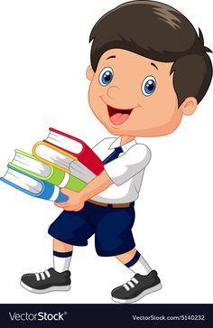 Student Cartoon, School Cartoon, Cartoon Boy, Art Drawings For Kids, Drawing For Kids, Art For Kids, School Frame, School School, School Murals