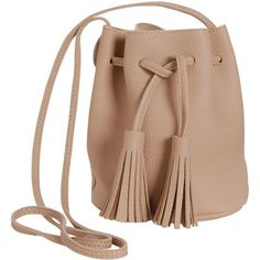 Humble Chic NY Tassel Bucket Bag (760 ARS) ❤ liked on Polyvore featuring bags, handbags, shoulder bags, tan, man leather shoulder bag, bucket tote bag, shoulder handbags, leather crossbody satchel and tan leather tote bag