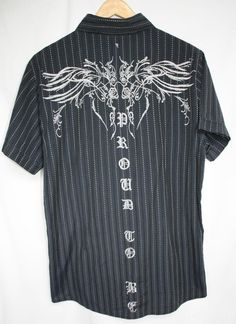 Get it at Bad Reputation Boutique! Zeuz - Boys Dk Gray Button Up Short Sleeve Shirt w/Embroidery on Back - Large #Zeuz #Everyday