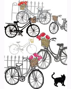 bikes with baskets. if this were fabric it would make the cutest skirt. by anna platts.