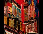 Cityscape Original Painting on Canvas - The old city - red- yellow- blu - wall art -home decor - art- australian made