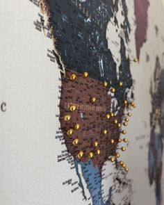 Large Push Pin World Map Wall Art. Travel Home Decor Idea. Beautiful Travel Gift