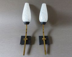Pair of French Wall Sconces 1960s' Mid Century by LaLoupiote