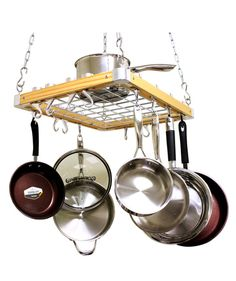 When you're lacking in space, don't forget to look up. Take those bulky pots and pans in your cabinets and hang them from the ceiling with this wooden pot rack. It comes with 26 hooks of various sizes—from heavy-duty to thinner kinds—so you can store all of your cookware (up to 33 pounds) in this one storage rack.