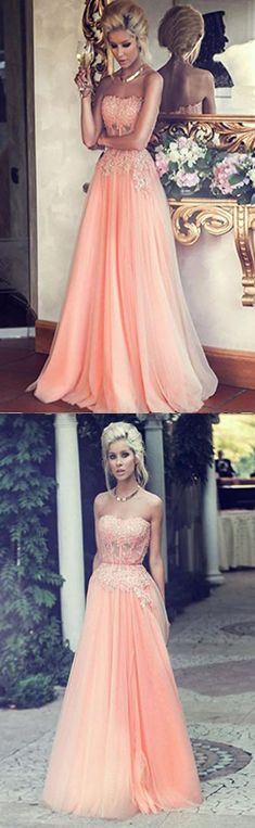 Blush Pink Strapless Prom dress,Long Appliques Prom Dress,a line long Evening Dress