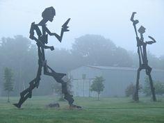 Dargan Park statues in the fog.