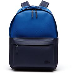 Lacoste Men's Chantaco Colorblock Piqué Coated Leather Backpack (€340) ❤ liked on Polyvore featuring men's fashion, men's bags, men's backpacks, bags bags, leather goods and mens backpack