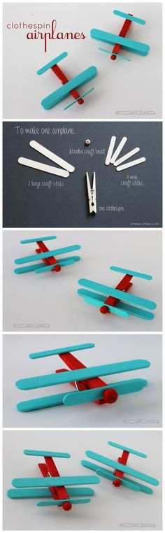 DIY Kids; Make a Airplane from Clothespin and Popsicle Sticks.Tutorial!: