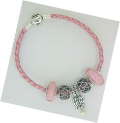 PANDORA Pink Leather Bracelet with Faceted Pink Murano and Angel Wings.