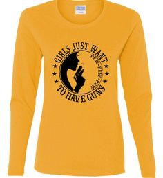 Girls Just Want to Have Guns. Pew Pew Pew. Women's: Gildan Ladies Cotton Long Sleeve Shirt. Gold.  #2A, #Cute, #Donttreadonme, #Dtom, #Fashion, #Girlsandguns, #Girlsthatshoot, #Girlswhoshoot, #Girlswithguns, #Girly, #Gunchick, #Gungirl, #GunRights, #Instagood, #Loyalnineapparel, #Loyalnineclothes, #Ootd, #Patrioticwomen, #Pewpew, #Pewpewlife, #Righttobeararms, #Shallnotbeinfringed, #Shootingrange, #Tee, #Teeshirt, #Tshirt, #Womensfashion, #Womensshirt, #Womenstee, #Womenwho