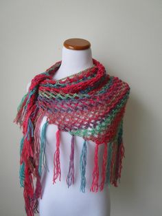 Bohemian Chic Multi Colored Shawl With by CoralsChicBoutique