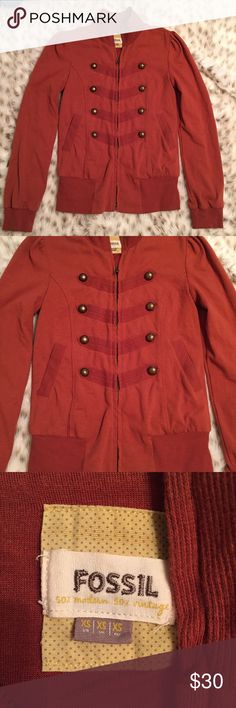Fossil Military Full Zip Jacket Fossil Burnt orange Military style jacket! So cute! Full zip. Size XS. Perfect for this coming spring! Used but still in good condition Fossil Jackets & Coats