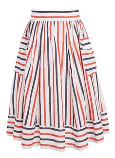 The Aurora is a colourful multi stripe skirt, created in 100% cotton making it a perfect piece for your summer wardrobe, with a vintage-inspired look.