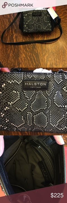 f45c80d8d69e Authentic Halston Heritage Mosaic Python Bag Gorgeous Halston Heritage  Mosaic Python Embossed Leather side zip satchel