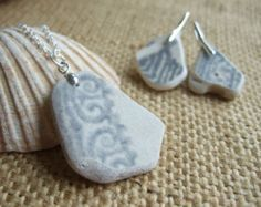 Scottish sea glass jewelry set earring and by TiliabytheSea