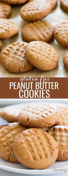 Crunchy gluten free peanut butter cookies with the traditional crosshatch. So easy to make, and packed with peanut butter flavor. Make them tonight!