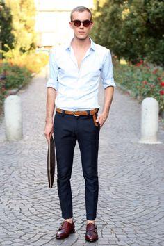shoes, slacks, belt, shirt