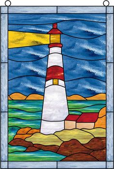 Atlantic Ocean Lighthouse Stained Glass Window Panel