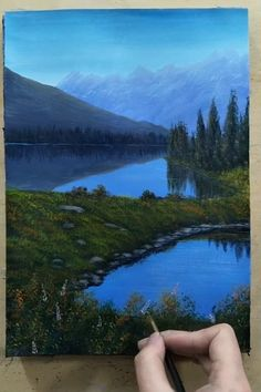 ross paintings sunsets design reference Acrylic Landscape Painting - Morning in Lake Canvas Painting Tutorials, Acrylic Painting Canvas, Acrylic Art, Acrylic Landscape Painting, Acrylic Painting Lessons, Watercolor Landscape, Landscape Art, Landscape Paintings, Scenary Paintings